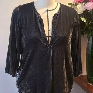 CP Shades Dark Grey Velvet Top Size S/M